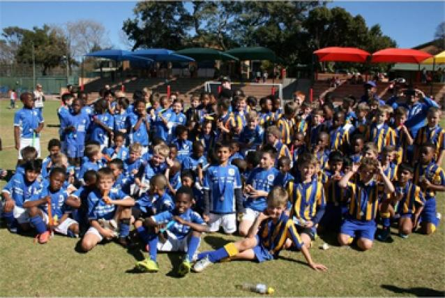 Soccer stars... Players of the SuperSport United Soccer Academy and Bryneven Primary School soccer teams.